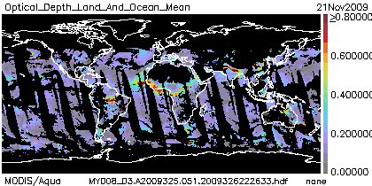 Optical Depth Land and Ocean Mean